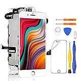 Yodoit Pantalla Completa para iPhone 7 Plus LCD Blanco, Ensamblaje de Reemplazo del Digitalizador con Piezas de Repuesto (cámara Frontal, Altavoz Auricular) + Herramienta (5,5 Pulgadas)