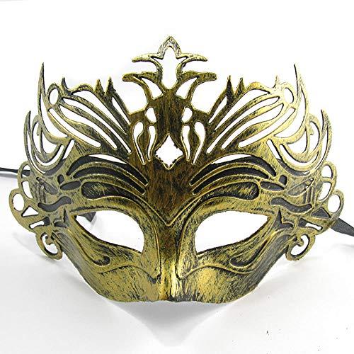 YiYuDe Masken Paintball-Schutzmasken Maskerade Geburtstagsfeier Retro Kapuze Antike Geschnitzte Krone Männlich, Gladiator Crown Gold