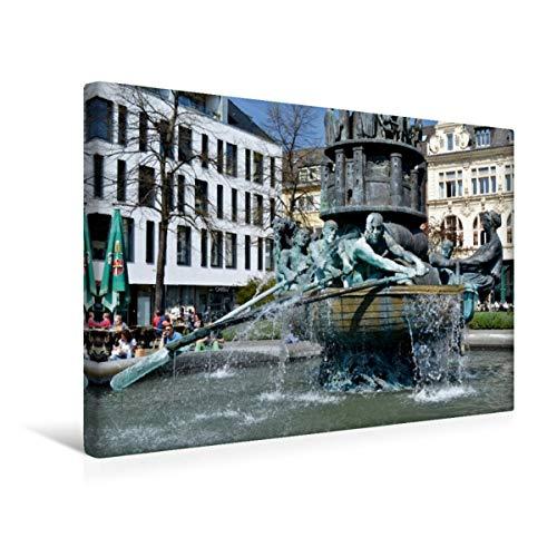 Calvendo Premium Textil-Leinwand 45 cm x 30 cm quer, Koblenz | Wandbild, Bild auf Keilrahmen, Fertigbild auf echter Leinwand, Leinwanddruck: Der Brunnen auf erzählt die Stadt-Geschichte Orte Orte