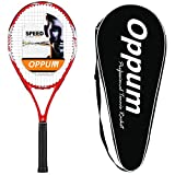 oppum Adult Carbon Fiber Tennis Racket, Super Light Weight Tennis Racquets Shock-Proof and Throw-Proof,Include Tennis Bag Tennis Overgrip (New T80 -(Red), 4 3/8)