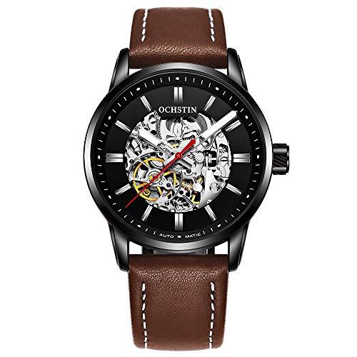 Ochstin, orologio da polso da uomo con scheletro meccanico automatico, cinturino in pelle (nero)