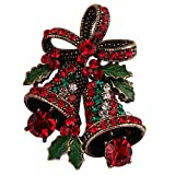 FERVENT LOVE Vintage Christmas Bowknot Double Bells Brooch with Green Leaves and Colorful Rhinestones for Women