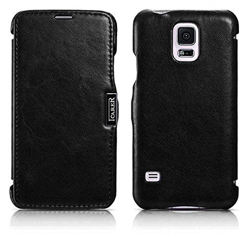 ICARER Tasche passend für Samsung Galaxy S5 & S5 Neo, Hülle mit echtem Leder, Schutz-Hülle seitlich klappbar, Ultra-Slim Cover, Etui im Vintage Erscheinungsbild, Schwarz