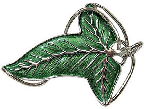 Medioevo - Lord of The Rings Elvish Brooch Leaf Legolas Frodo with Box and Certificate Original - Green - 7cm