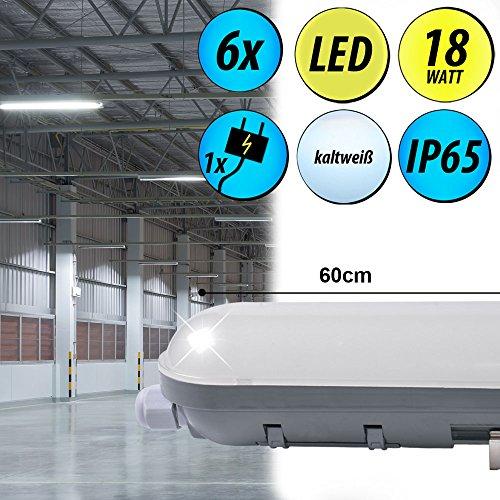 6er Set SMD LED 18 Watt Decken Röhre Lager Halle Wannen Lampen 6000 K Tageslicht Werkstatt Leuchten