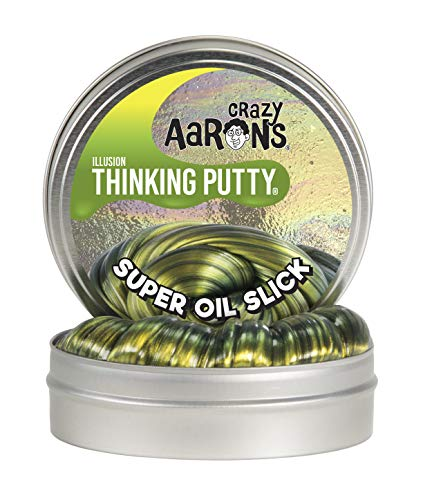 Crazy Aaron's Thinking Putty - Super Illusions: Super Oil Slick - Fidget Toy For All Ages - Stretch, Change, Play & Create - Shifting Gold Color That Never Dries Out - 4' Large Storage Tin - 3.2 oz.