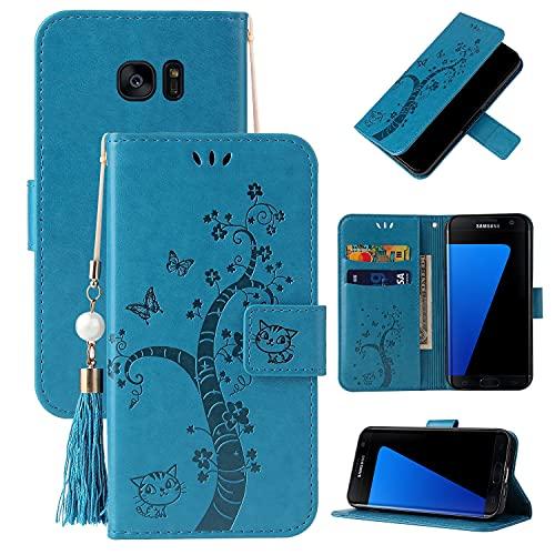 Caso del tirón del teléfono Flip Funda para Samsung Galaxy S7 Edge, cubierta de la billetera de cuero PU [Función de soporte] con el bolsillo de la ranura ID y las tarjetas de crédito, Cierre magnétic