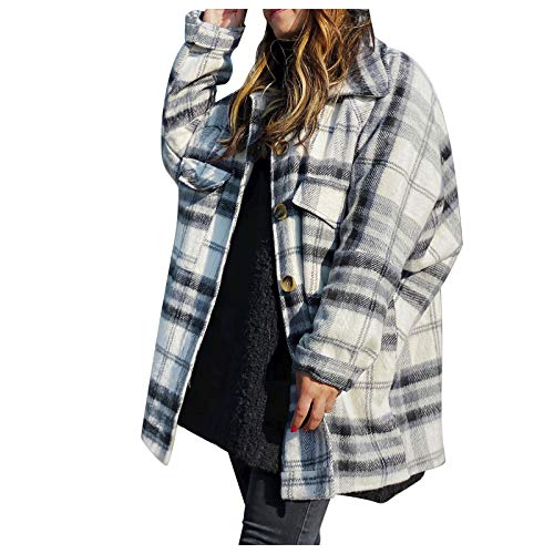 Womens Blouse Jacket Ladies Casual Plaid Checkered Printed Jackets Buttons Down Long Sleeve Outerwear Baggy Jacket Coat with Pockets White