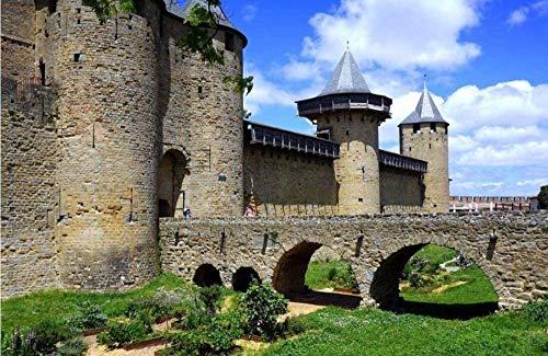 Yqgdss La Antigua Ciudad De Carcassonne Under The Blue Sky Rompecabezas para Adultos Rompecabezas 500 Piezas Ideal para Relajación Meditación Hobby Cumpleaños para Papá Madre