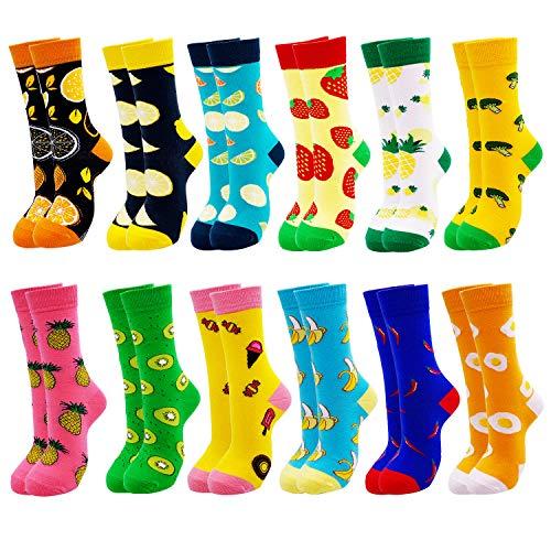 Jielucix Bunte Socken Damen Lustige Baumwolle Farbige Anzugsocken für Frauen 39-42 (Bunt E, 12)