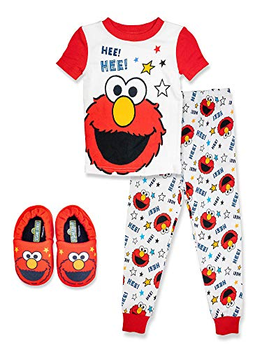 Sesame Street Elmo Toddler,2 Piece Pajama Set,with Matching Toddler Elmo Slippers, 100% Cotton, Red, Size 4T