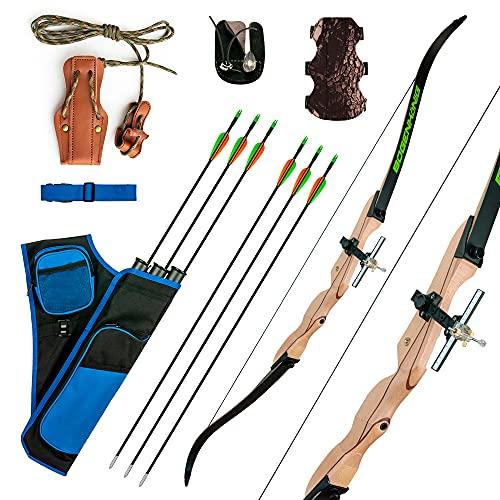 Bogenkönig - arco professionale, arco e frecce per adulti, 40 kg, in arco ricurvo, arco con frecce accessori per tiro ad arco e frecce professionale