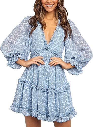 Happy Sailed Women Long Sleeve Ruffle Layer Backless Swing Mini Dresses Small Sky Blue