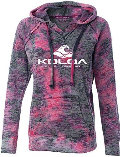 Koloa Surf Co. Womens Vintage Wave Raspberry Swirl V-Neck Burnout Hoodies in Sizes S-2XL