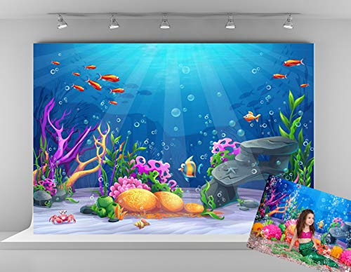 Kate 7x5ft Blue Underwater Photography Backdrop Colorful Fish Background Fairy Tale Photo Backgrounds Children Birthday Party Decoration Backdrops for Photoshoot