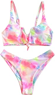 Women Bandage Sexy Bikini Set, Ladies Floral Printed Two Piece Swimsuit Push up Swimwear