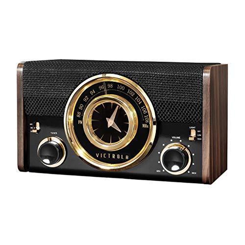Victrola Bluetooth Analog Clock Radio, Espresso (VC-525)