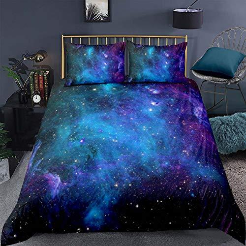 Loussiesd Bettwäsche Set Galaxie Sternenhimmel Bettbezug Set für Kinder Jungen Mädchen Weich Atmungsaktiv Microfaser 135 * 200cm Betten Set mit Reißverschluss und 1 Kissenbezug 80x80 cm