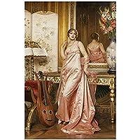 キャンバスの装飾ヨーロッパの女性キャンバス絵画プリント壁アートポスターヴィンテージポスターホーム装飾-50X70CMフレームなし