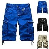 JIAYOUA Herren Cargo Hose Shorts Sommer Kurze Hose Baumwolle Bermuda Shorts Outdoor Taschen Gerade...