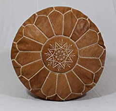 """moroccan handmade pouf tan color real natural goatskin leather SOLD UN-STUFFED 21"""" x 12"""" inch"""