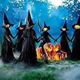 Visiting Light-Up Witches with Stakes-(Lighting + HAT + Clothing), Halloween Decorations Outdoor, Light Up Holding Hands Screaming Witches Sound-Activated Sensor, Life Size Decor for Outside