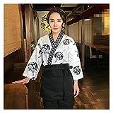 Unisex Estilo japonés Servicio de Comida Ropa Sushi Chef Chaqueta Nuevo Chef Trabajo Uniforme Diseñado Cocinero Traje Japonés Kimono Algodón Poliéster (Color : 02 Top, Tamaño : XL)