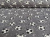 Jersey, Fußbälle auf Grau als Meterware zum Nähen, 50 cm