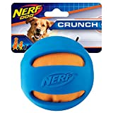 Nerf Dog Crunch and Squeak Rubber Ball Dog Toy, Medium/Large, Blue