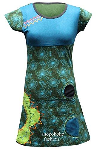 SHOPOHOLIC FASHION Damen Blume Muster Hippy Boho Kleid - Blau, Large