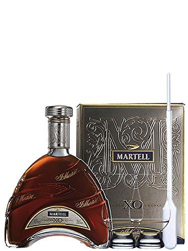Martell XO Extra Old Cognac in Geschenkpackung Frankreich 0,7 Liter + 2 Glencairn Gläser + Einwegpipette 1 Stück
