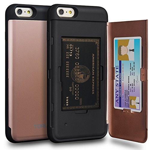 TORU CX Pro Funda iPhone 6S Plus Carcasa Cartera Rosa con Tarjetero Oculto y Espejo para Apple iPhone 6S Plus/iPhone 6 Plus - Oro Rosa