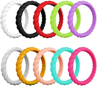 HLTPRO Silicone Wedding Rings for Women – 10 Pack/1 Pack Braided Thin Stackable Rubber Bands – 2mm Thick