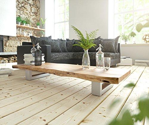 DELIFE Wohnzimmertisch Live-Edge Akazie Natur 165x60 Baumkante Kufengestell Couchtisch