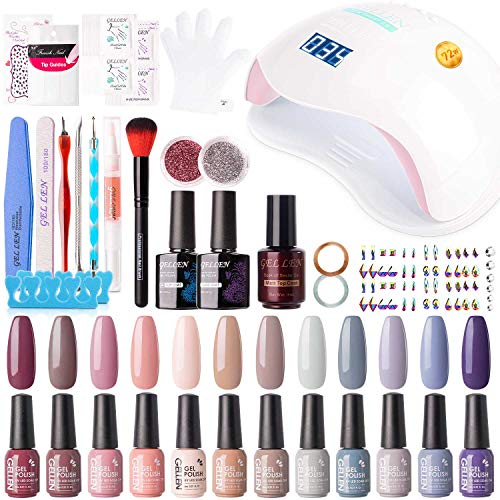 Gellen 12 Colors Gel Nail Polish Starter Kit - with 72W UV/LED Nail Lamp Top Base Coat, Essential Home Manicure Tools Popular DIY Nail Art Designs Matte/Glitters/Rhinestones, Nude Grays