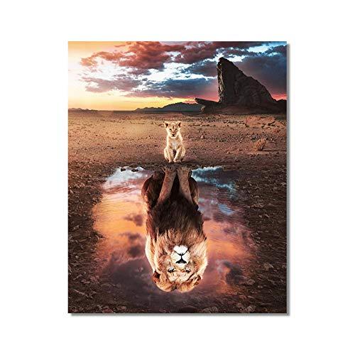 Cachorros de león africano puesta de sol animal salvaje invertido lienzo arte pintura carteles e impresiones cuadro de arte de pared para sala de estar-50x60cm sin marco