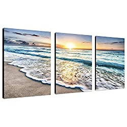 TutuBeer 3 Panel Beach Canvas Wall Art for Home Decor Blue Sea Sunset White Beach Painting The Picture Print On Canvas Seascape The Pictures for Home Decor Decoration,Ready to Hang