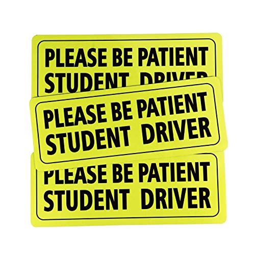 JUSTTOP Student Driver Magnet Safety Sign, 9 X 3.5 inch Car Vehicle Reflective Sign Sticker Bumper for New Drivers (3 PCS)