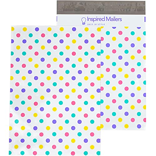Inspired Mailers - Poly Mailers 10x13-100 Pack - Pastel Polka Dots - Shipping Bag - Polybags for Shipping - 10x13 Poly Mailers - Package Bags - Shipping Envelopes