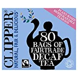 Clipper Tea Fairtrade Organic Decaf 80 Unbleached, Plastic-Free Bags, 8.2 oz, 1 Pack, 80 Tea Bags