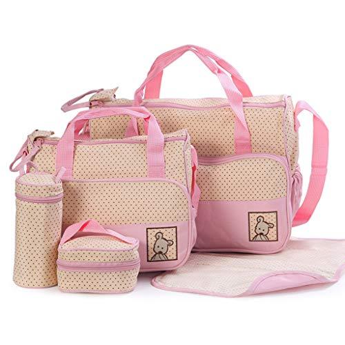 YOYOHO - Juego Multifuncional de 5 Piezas para Cambiar pañales para bebés, Bolsa para pañales, Bolso de Maternidad para mamá - Rosa