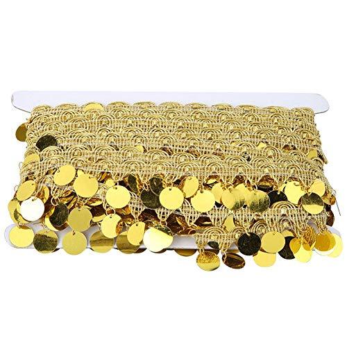 Sheens Quaste Bauchkette, 10 Meter Lange Bauchtanz Gürtel Runde Münze Körperschmuck Kette Zubehör Nationale Kleidung liefert Hip Schal Dekoration(Golden)