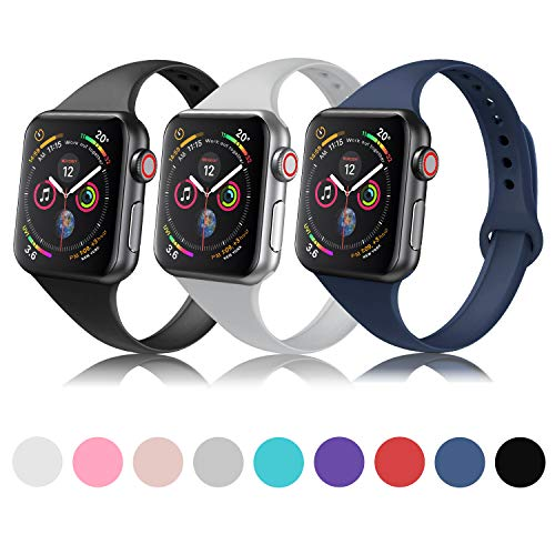 DYKEISS Sport Slim Silicone Band Compatible with Apple Watch 38mm 42mm 40mm 44mm, Thin Soft Narrow Replacement Strap Wristband Accessory for iWatch Series 1/2/3/4 (3p-Black/Gray/Navy Blue, 38mm/40mm)