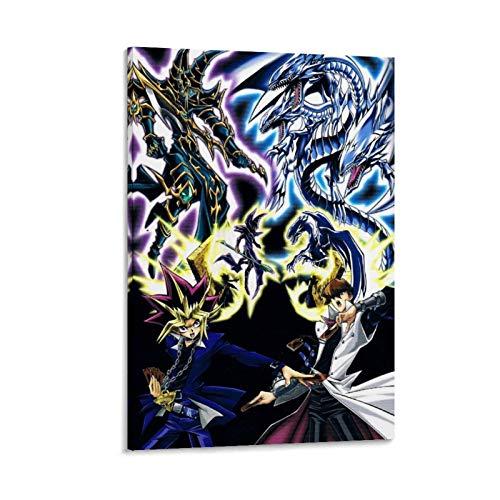 QINGF Duel Monsters-Yugi Muto VS Seto Kaiba-4K HD Anime Kunstdruck auf Leinwand, modernes Familienschlafzimmer, Dekor-Poster 50 x 75 cm