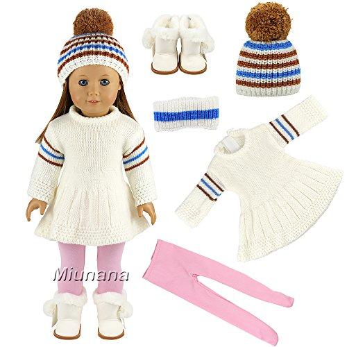 Miunana Sets Kleidung Pullover Warm Kleid Mütze Stiefel Schuhe Leggings für 44-45 cm Puppen 18 Inch Doll Puppen American Girl Stehpuppen Puppe Winter Geschenk