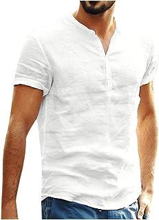 kolila Mens Cotton Linen Shirts Casual Tops Men's Baggy Cotton Linen Solid Short Sleeve Button Retro T Shirts Tops Blouse