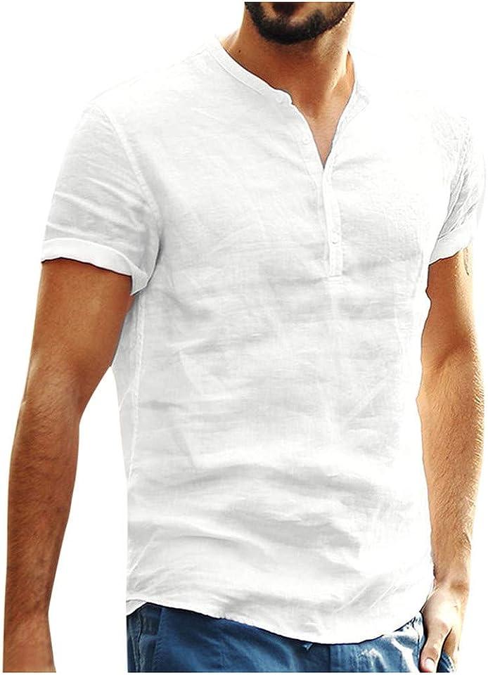 Leinenhemd Herren Casual Hemd Kurzarm V-Ausschnitt Bluse Regular Fit Einfarbig Oberteile Freizeithemd Sommerhemd