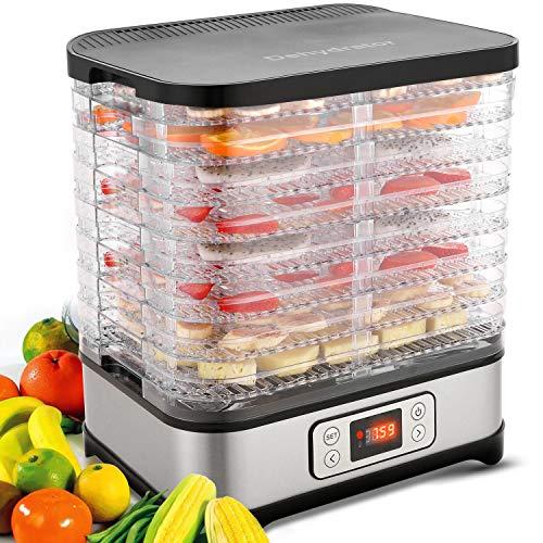 Meykey Dörrautomat mit Temperaturregler, Dörrgerät für Lebensmittel, Fleisch Frucht Gemüsetrockner mit Timer, Dehydrator, BPA-frei (8 Etagen/400W)