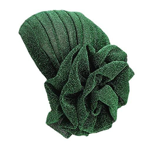 Fxhixiy Damen Turban, elastisch, Glitzer, große Blume, Chemo-Beanie, Haarausfall, Chemo-Kappe - Grün - Einheitsgröße