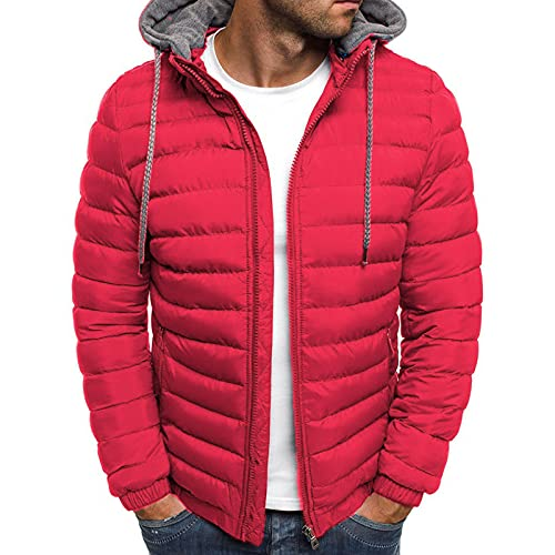 Chaqueta de plumón de invierno para hombre, color sólido, con capucha, manga larga, con cremallera, uso exterior con bolsillos para niños, 5 colores, rosso, M